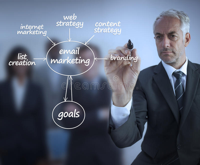 Elegante zakenman het schrijven marketing termijnen stock fotografie