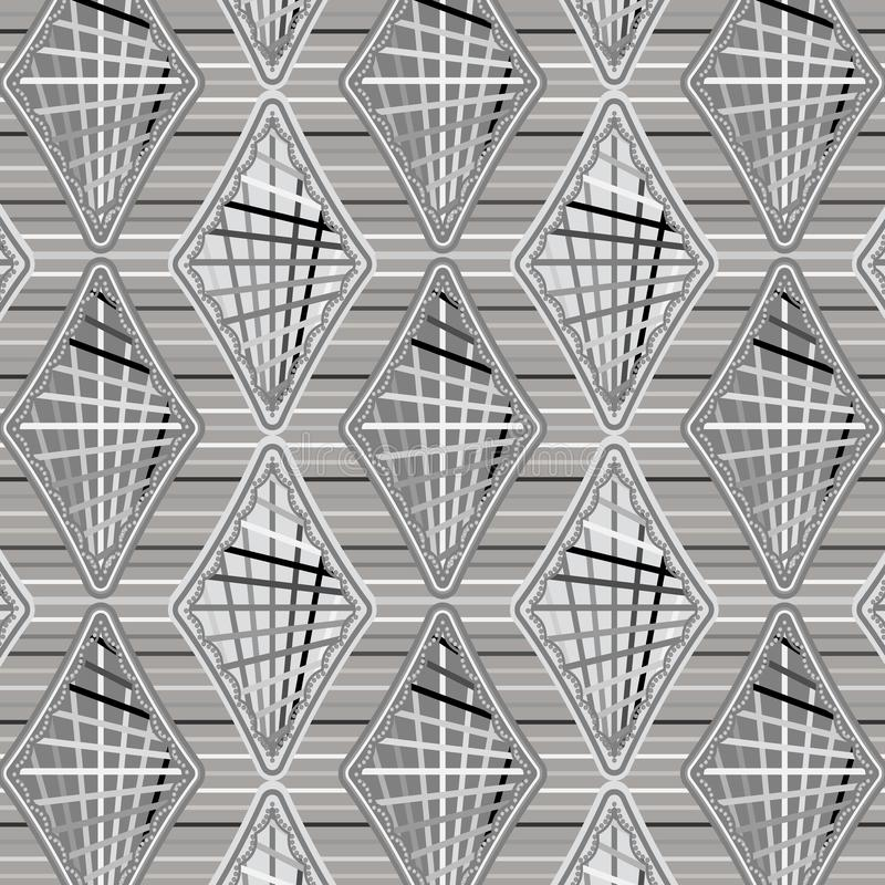 Elegante zilveren grijze diamanten en strepen in een naadloos patroon royalty-vrije illustratie