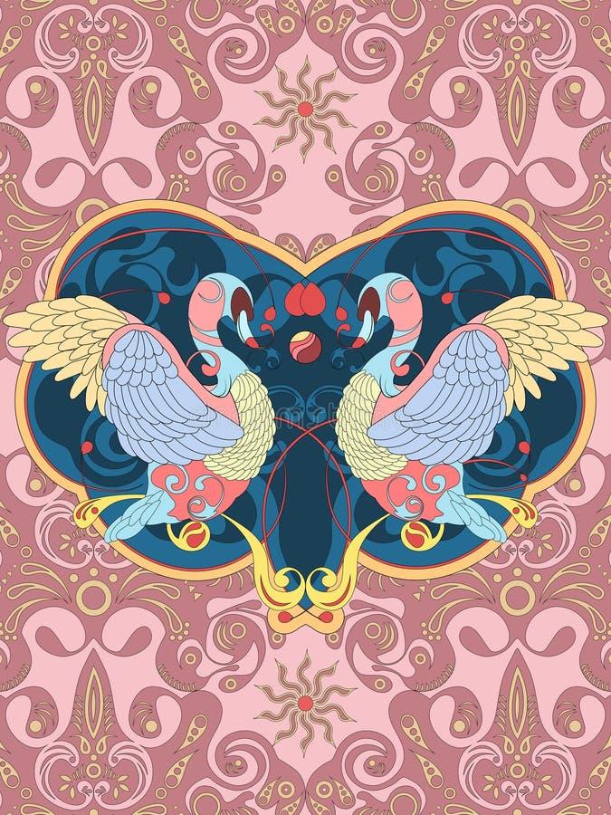 Elegante zwaan kleurende pagina stock illustratie