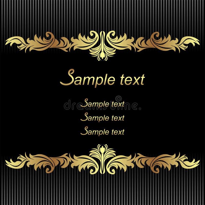 Elegante zwarte Achtergrond met gouden Grenzen voor uitnodigingsontwerp stock illustratie