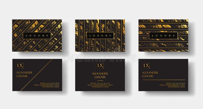 Elegante zwarte die luxeadreskaartjes met marmeren textuur en gouden detail vectormalplaatje, banner of uitnodiging worden geplaa vector illustratie