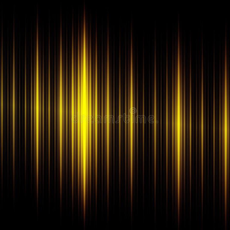 Elegante Zwarte Gele Lijnenachtergrond Mooi Abstract Ontwerp Creatieve Moderne Technologieillustratie Donkere het Gloeien Textuur stock illustratie
