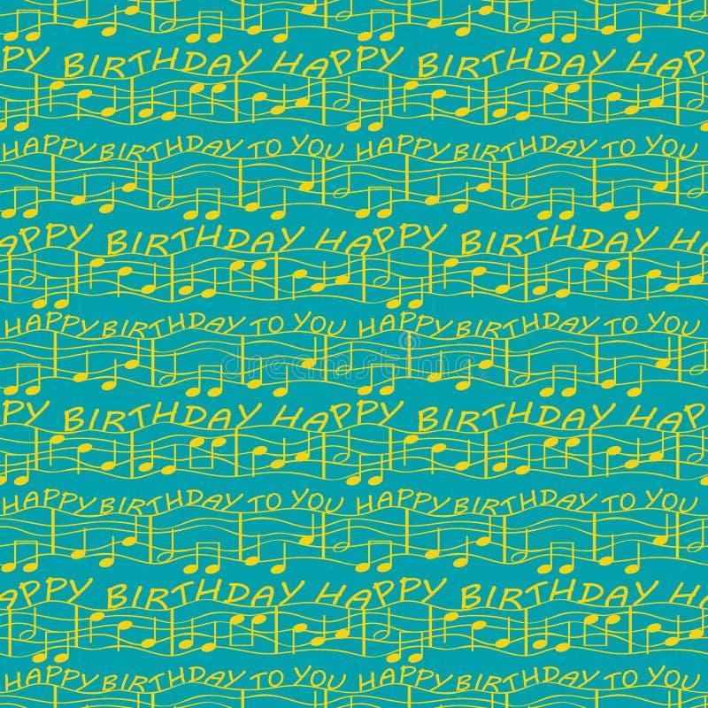 Elegante zwei Tongeburtstagsglückwünsche mit musikalischen Anmerkungen Nahtloses Vektormuster im hellen Ozeanblau und Gold mit lizenzfreie abbildung
