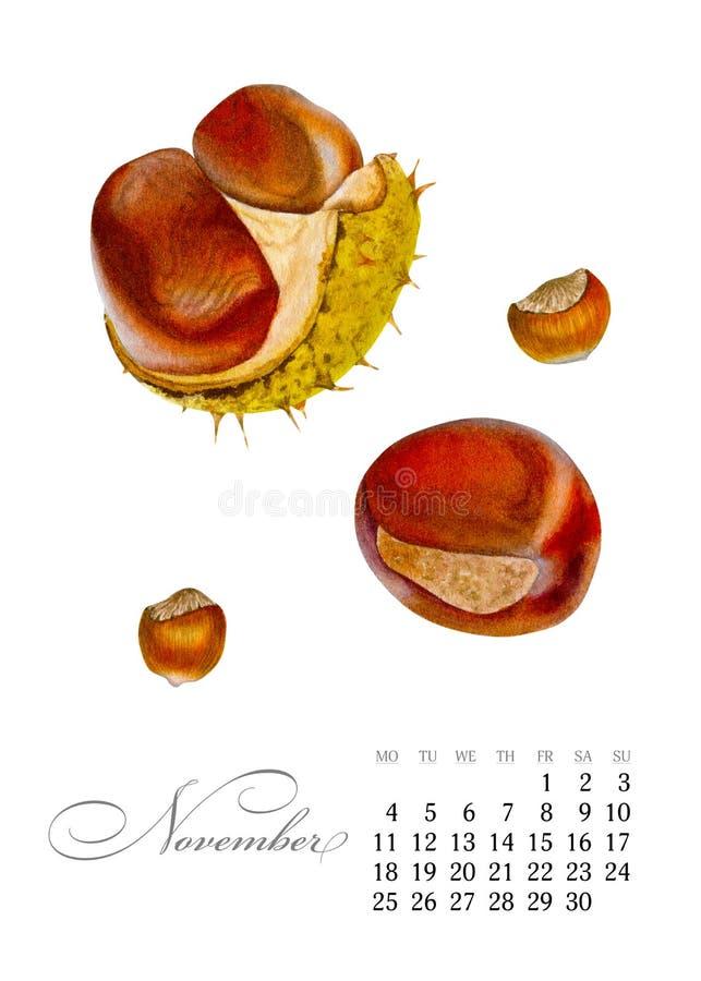 Eleganter bedruckbarer Kalender 2019 november Aquarellkastanien Saftige botanische Platte - verlassen Sie Kaktus, Kaktusfeigekakt lizenzfreie abbildung