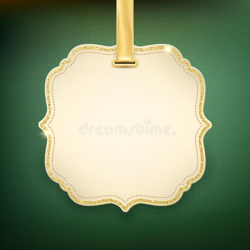 Eleganter beige Aufkleber mit goldenem Band auf grünem Hintergrund ENV 10 stock abbildung