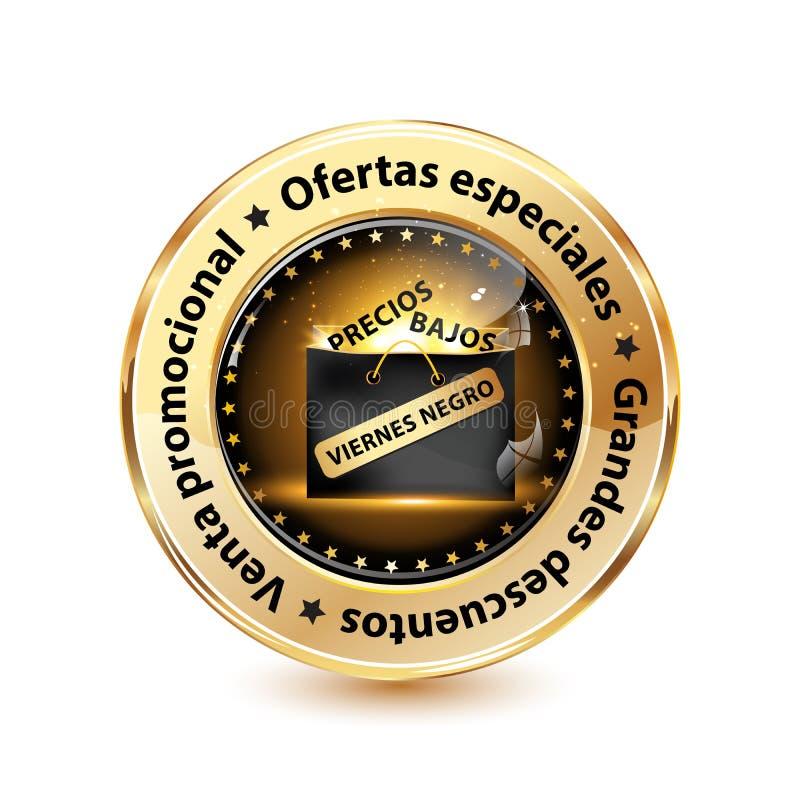 Eleganter Black Friday-Ausweis/Netzknopf entwarfen für den spanischen Kleinmarkt lizenzfreie abbildung
