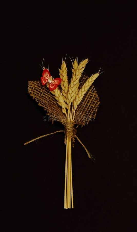 Eleganter Blumenstrauß von goldenen Weizenähren mit rotem dekorativem Schmetterling auf Jutefaserblättern gegen schwarzen Hinterg stockfotografie