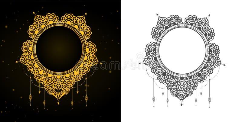 Eleganter dunkelgrauer und goldener Mandala Entwurf lizenzfreie abbildung