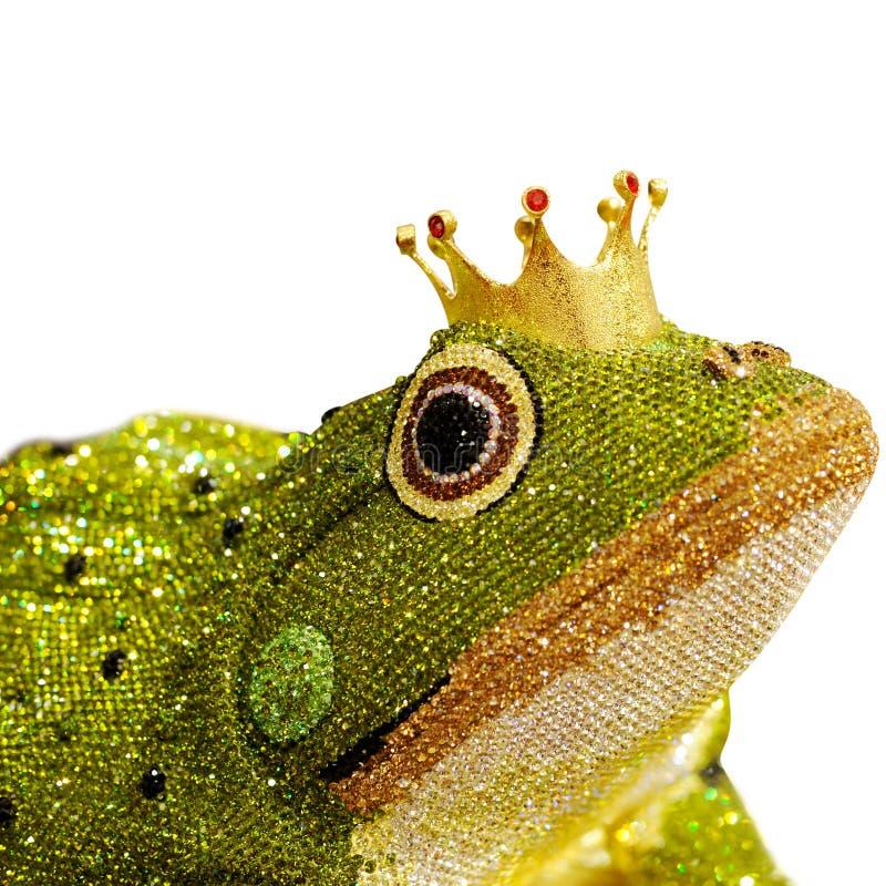 eleganter entworfener Diamant im Frosch auf weißem Hintergrund lizenzfreies stockfoto