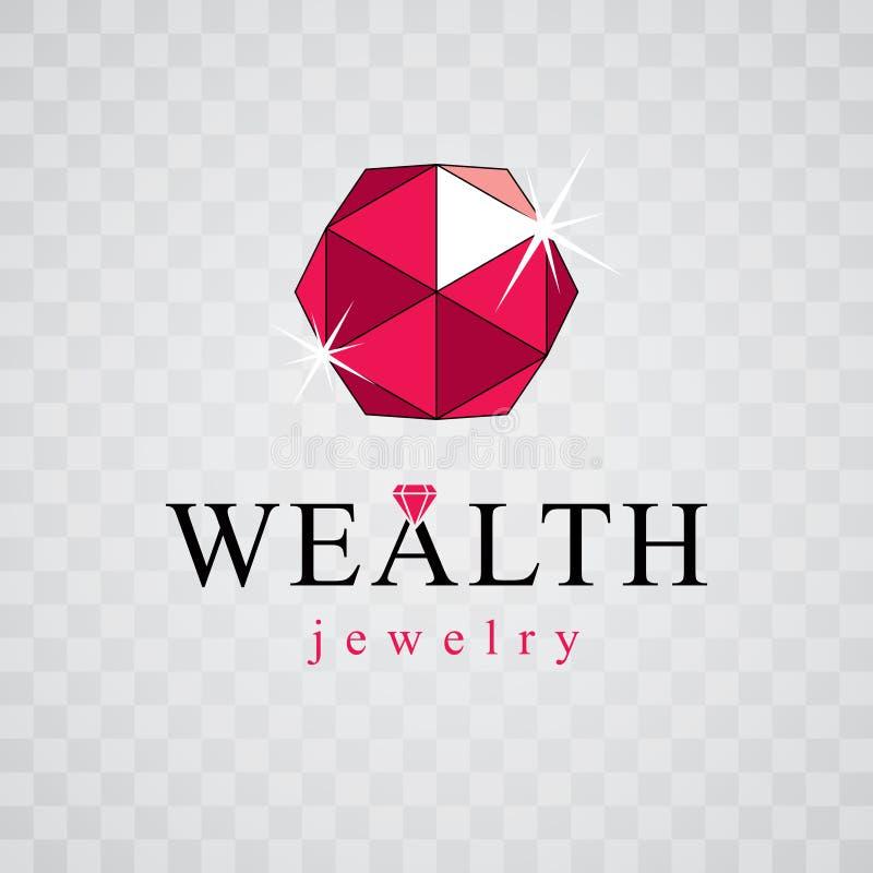 Eleganter funkelnder Edelstein des Vektors Luxusdiamantzeichenemblem, logoty stock abbildung