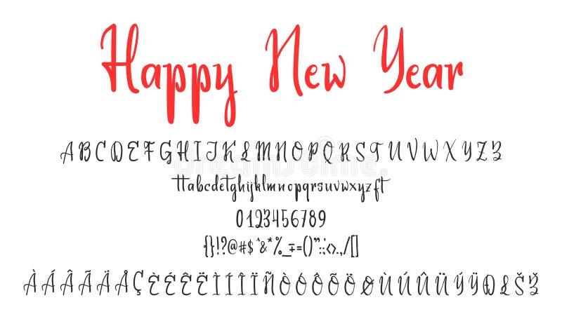 Eleganter Guss der handgeschriebenen Kalligraphie und Glückwunsch-guten Rutsch ins Neue Jahr und frohe Weihnachten, Kalligraphie  vektor abbildung