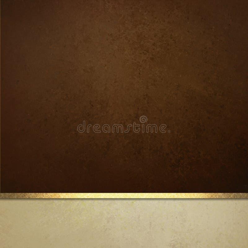 Eleganter Hintergrund des braunen Papiers mit weißer Grenz- und Goldbandordnung oder -streifen stockbild