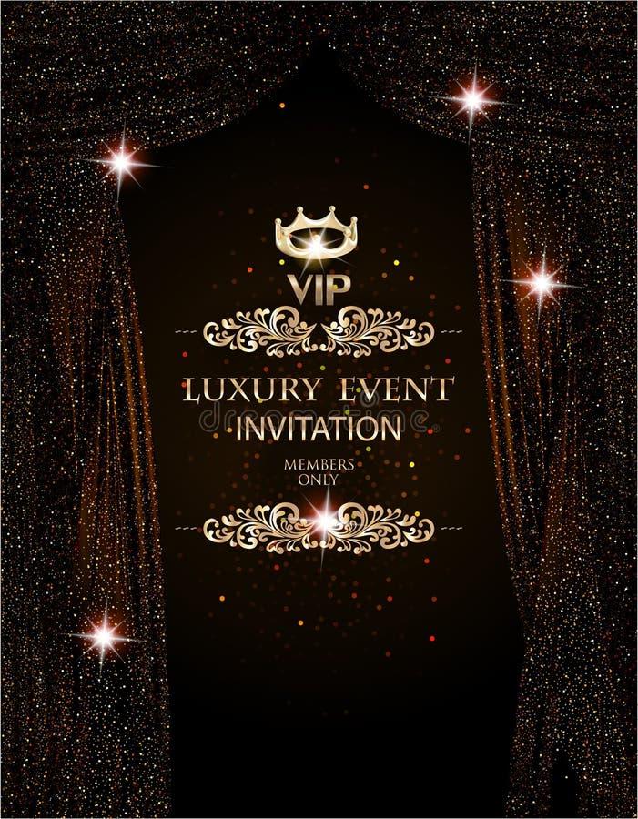 Eleganter Hintergrund des Luxusereignisses mit funkelnden Theatervorhängen lizenzfreie abbildung