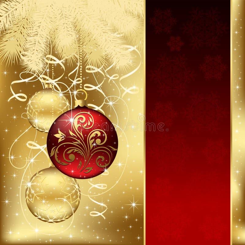 Eleganter Hintergrund mit drei Weihnachtskugeln stock abbildung