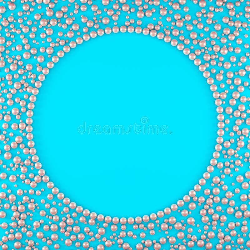 Eleganter Hintergrund von rosa Perlen auf einem Kreis auf einer blauen Basis VI vektor abbildung