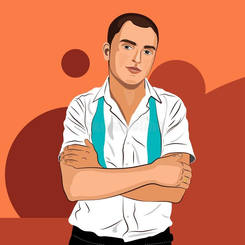 Eleganter junger Mann weared im weißen Hemd und in der Bindung stockfoto