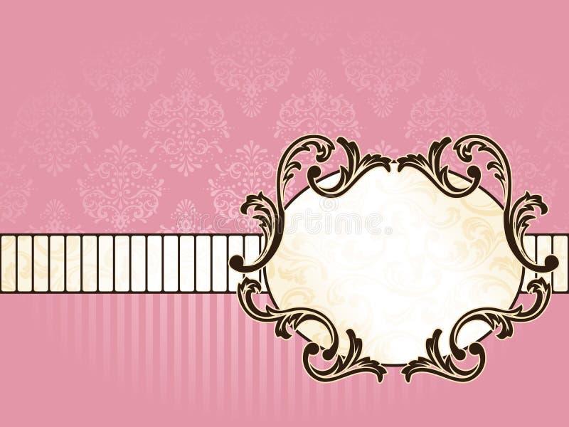 Eleganter ovaler französischer Weinlesekennsatz, horizontal vektor abbildung