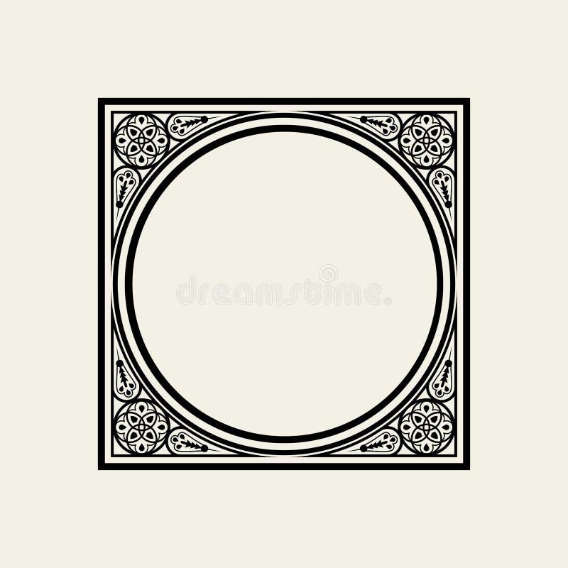 Eleganter Rahmen Im Viktorianischen Stil Der Kreis Eingeschrieben In ...