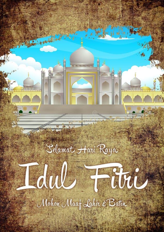 Eleganter Schmutz Selamat Hari Raya Idul Fitri Hapus Dosa Dan Kembali Suci Ramadhan und Goldgruß-Karte mit Moscheen-Bild stockbilder