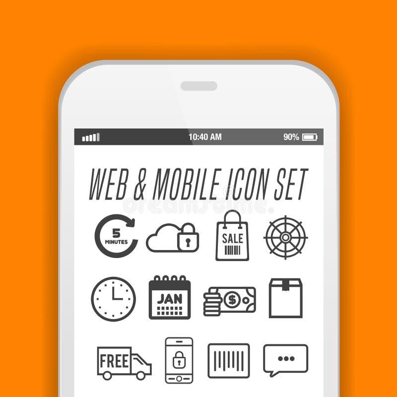Eleganter Smartphone mit Ikonen, Anwendungen Realistisches Vektordesign des Handys vektor abbildung