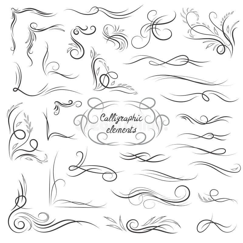 Eleganter Vektor-kalligraphische Ecken und Vignetten eingestellt stock abbildung