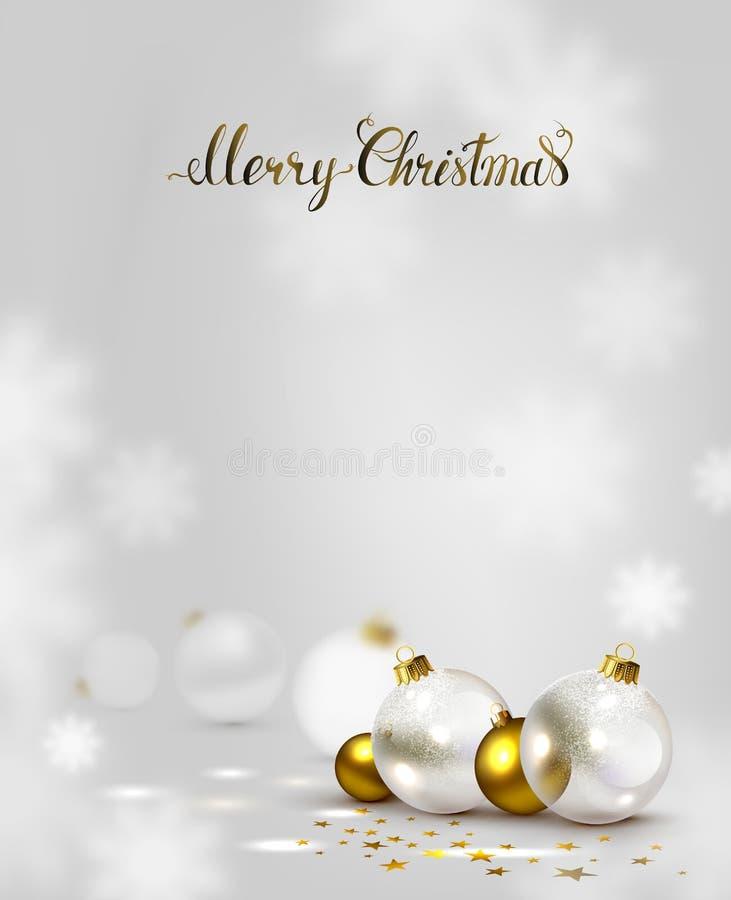 Eleganter Weihnachtshintergrund mit Gold und weißen Abendbällen stock abbildung