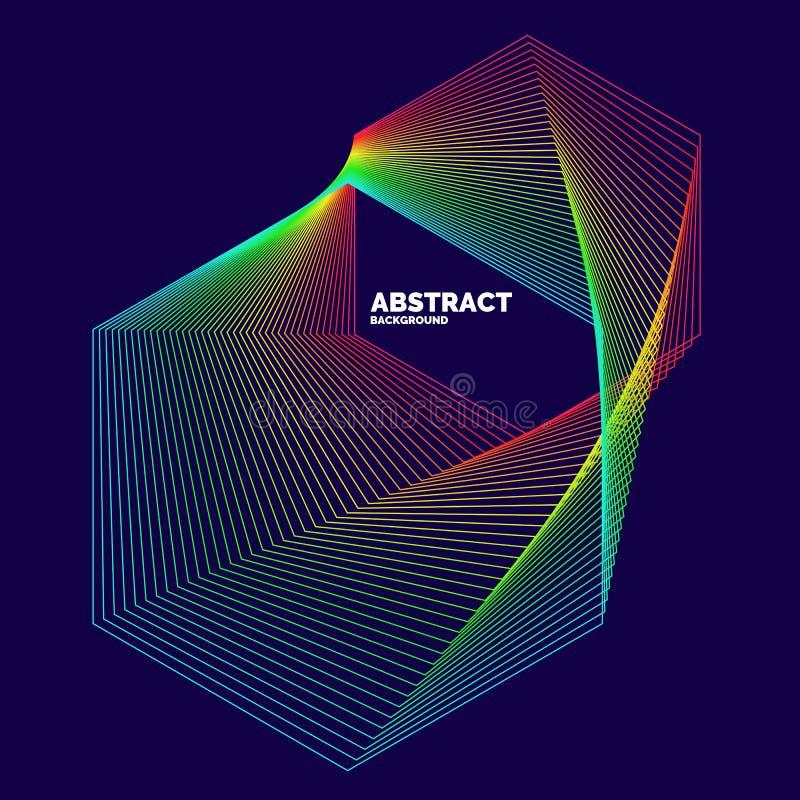 Elegantes abstraktes Plakat mit bunten Linien auf einem dunklen Hintergrund stock abbildung