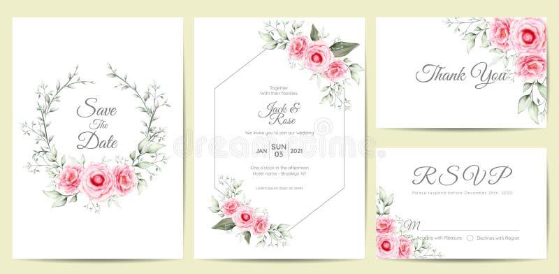 Elegantes Aquarell-Blumenheiratseinladungs-Karten-Schablone Handzeichnungs-Blume und Niederlassungen sparen das Datum, Gruß, dank stock abbildung