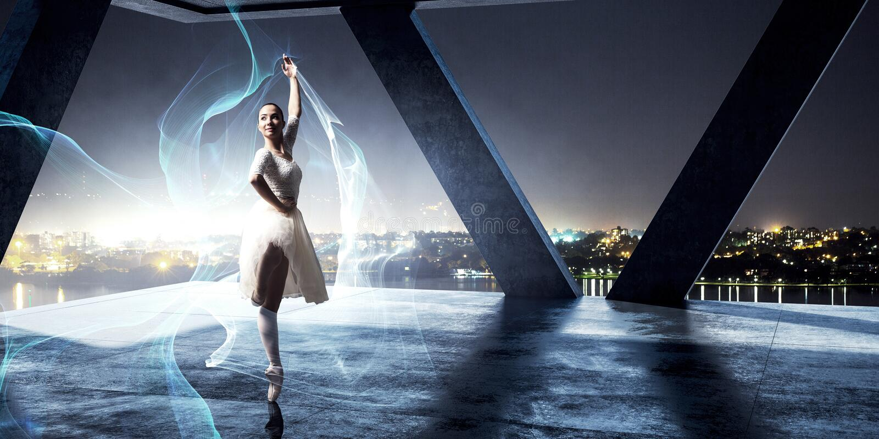elegantes Ballerinatanzen Gemischte Medien lizenzfreies stockbild