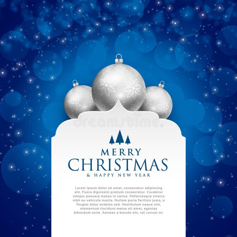 Elegantes blaues Design der frohen Weihnachten mit silbernen Bällen stock abbildung