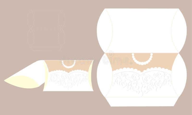 Elegantes Brautkleid mit Spitze Hochzeitskleiderkasten Bedruckbare Verpackung stock abbildung