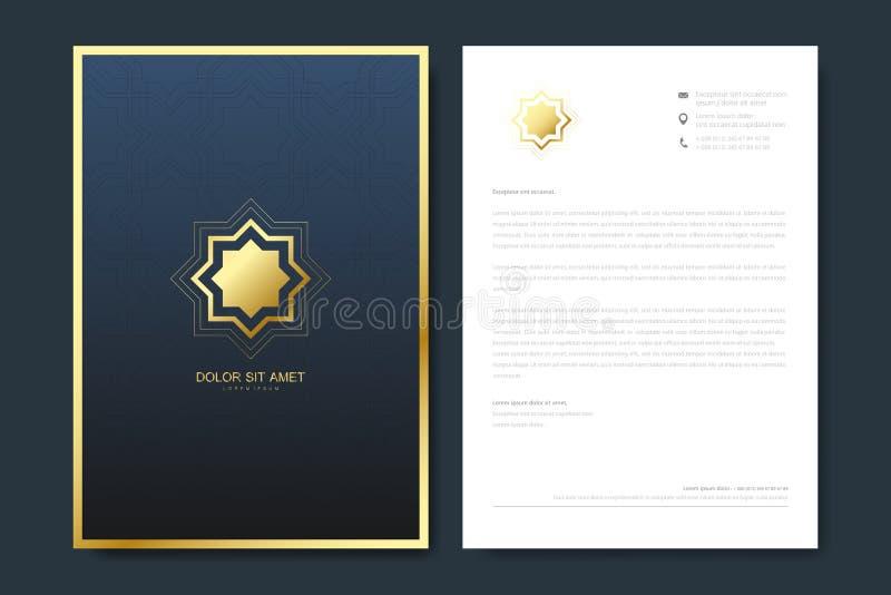 Elegantes Briefkopfschablonendesign in der unbedeutenden Art mit Logo Goldenes Luxusgeschäftsdesign für Abdeckung, Fahne lizenzfreie abbildung