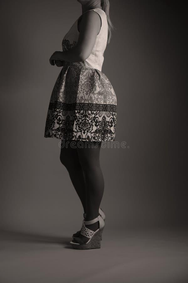 Elegantes gesticktes Kleid für Frauen im Studio stockfotos