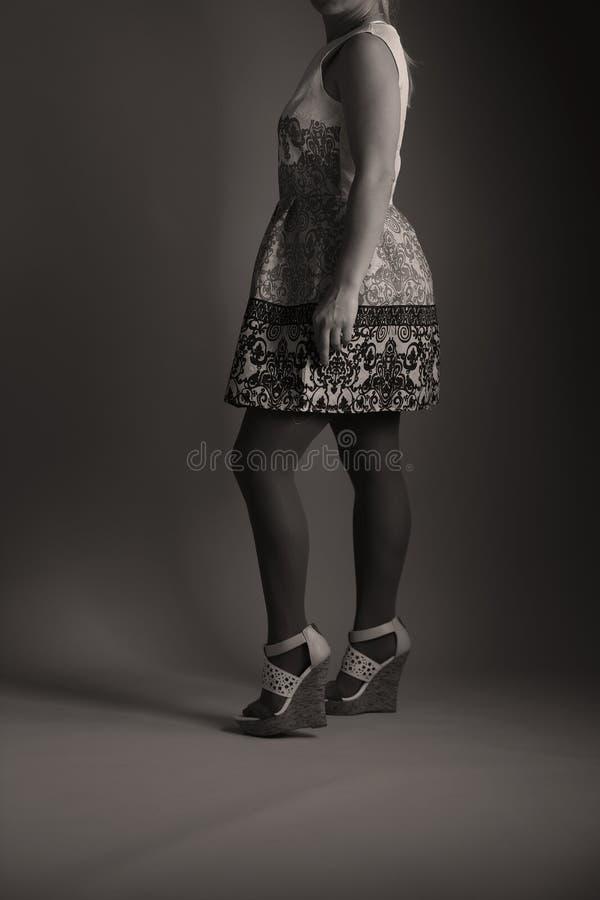 Elegantes gesticktes Kleid für Frauen im Studio stockbild