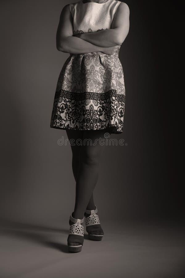 Elegantes gesticktes Kleid für Frauen im Studio lizenzfreies stockbild