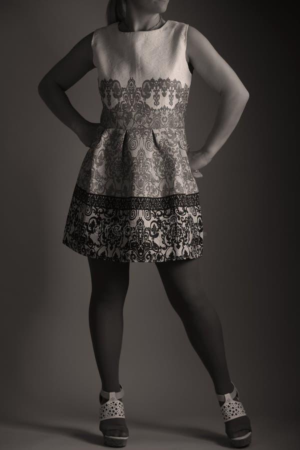 Elegantes gesticktes Kleid für Frauen im Studio lizenzfreie stockfotografie