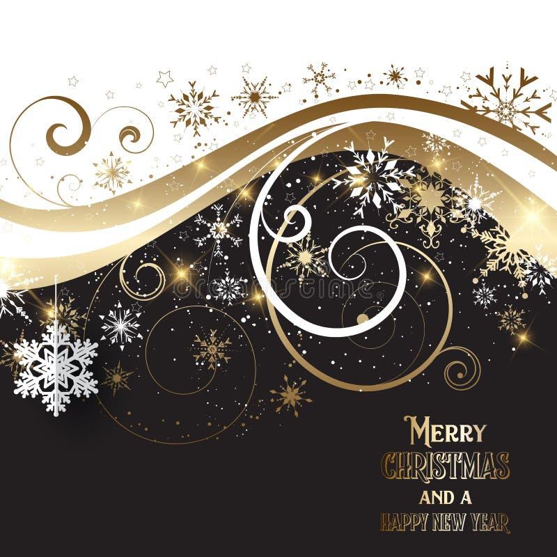 Elegantes Gold und schwarzer Weihnachtshintergrund stock abbildung