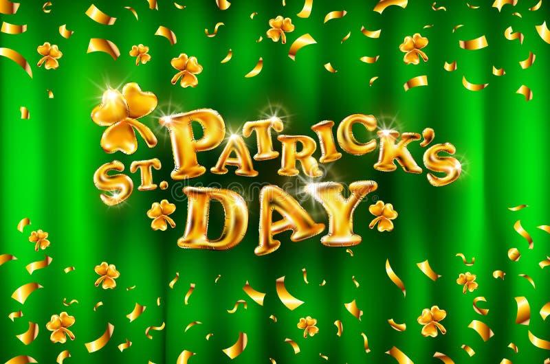 Elegantes Grußkartendesign mit kreativer glänzender Text glücklichem St- Patrick` s Tag auf grünem Hintergrund vektor abbildung