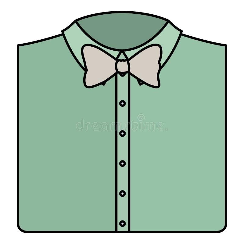 Elegantes Hemd gefaltet mit bowtie stock abbildung