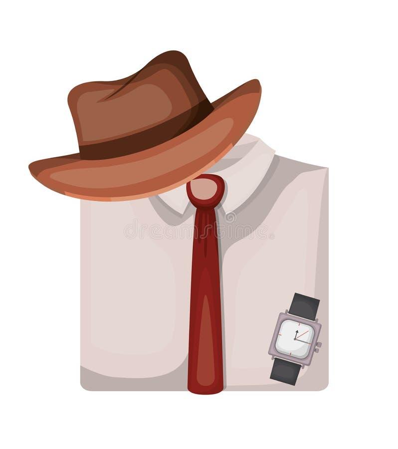 Elegantes Hemd gefaltet mit Hut und Uhr vektor abbildung