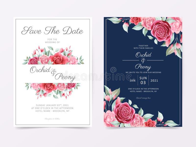 Elegantes Hochzeitseinladungskarten-Template mit Blumenrahmen und Grenzdekoration Gartenrosen und -pensionskarten lizenzfreie abbildung