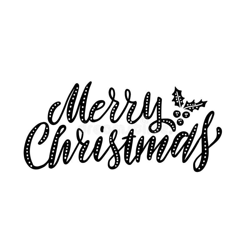 Elegantes letras modernas y dibujadas a mano de Feliz Navidad con un fondo blanco aislado. Ilustraci?n del vector stock de ilustración