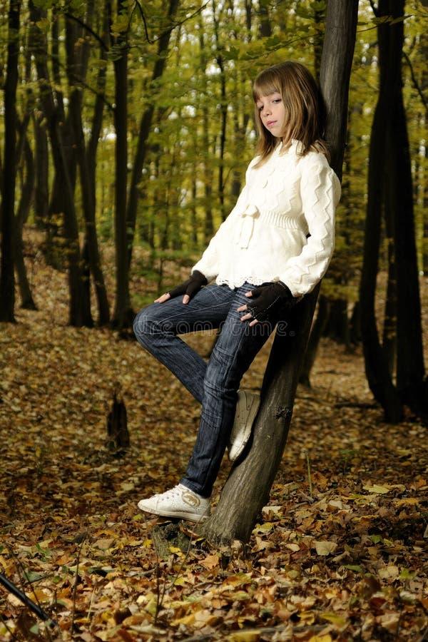 Elegantes Mädchen im Wald stockfotografie