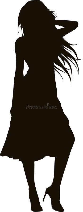 Elegantes Mädchenschattenbild vektor abbildung