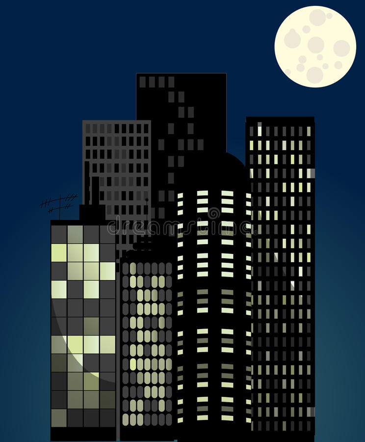 Elegantes Nachtzeit-Stadtbild vektor abbildung