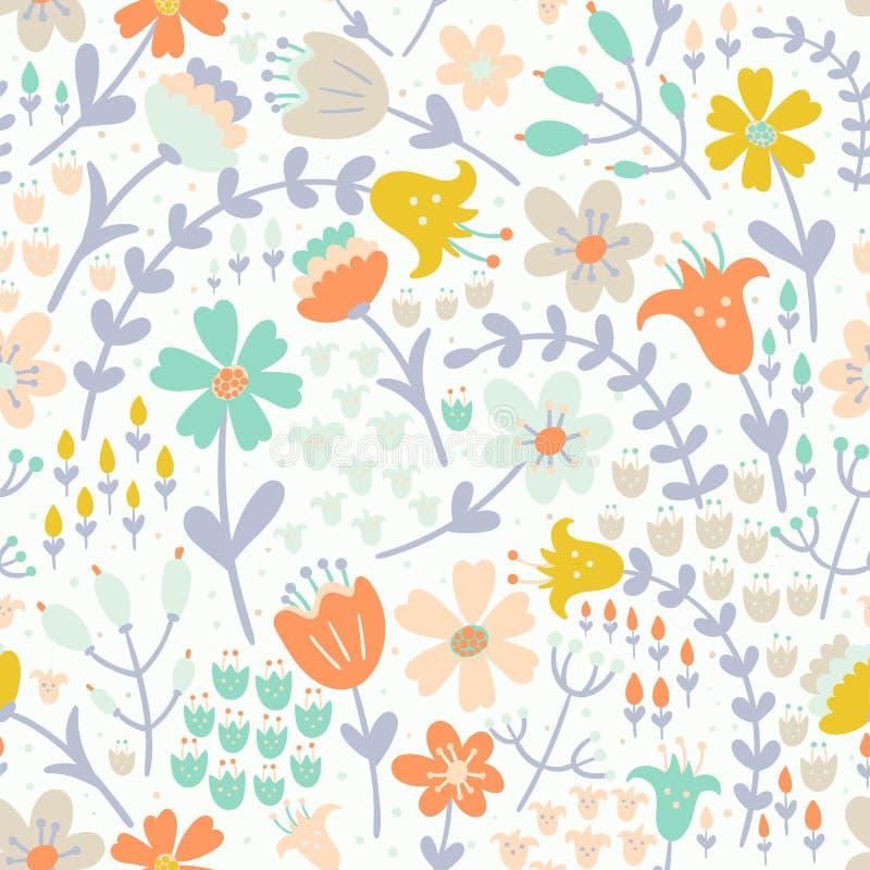 Elegantes nahtloses mit Blumenmuster Vektorvorlage ist- zum Download betriebsbereit stock abbildung