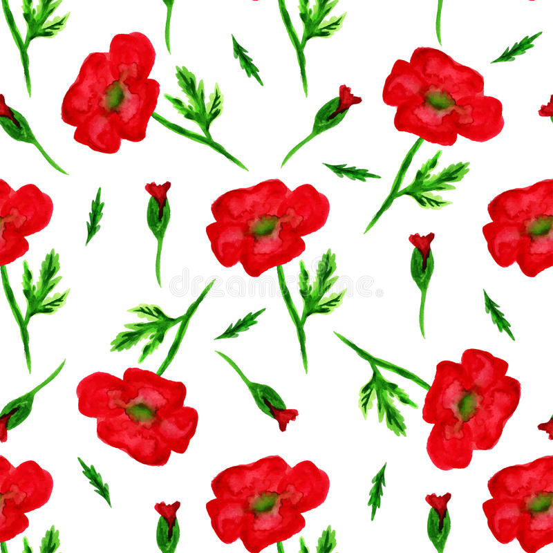 Elegantes nahtloses Muster mit Aquarell malte rote Mohnblumenblumen, Gestaltungselemente Blumenmuster für Heiratseinladungen, grü lizenzfreie abbildung