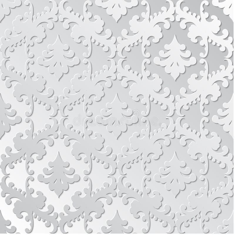 Elegantes Retro- Papiermit Blumennahtloses Hand gezeichnete Weinlesedesignschablone für Fahne, Grußkarte, Hochzeitseinladung vektor abbildung