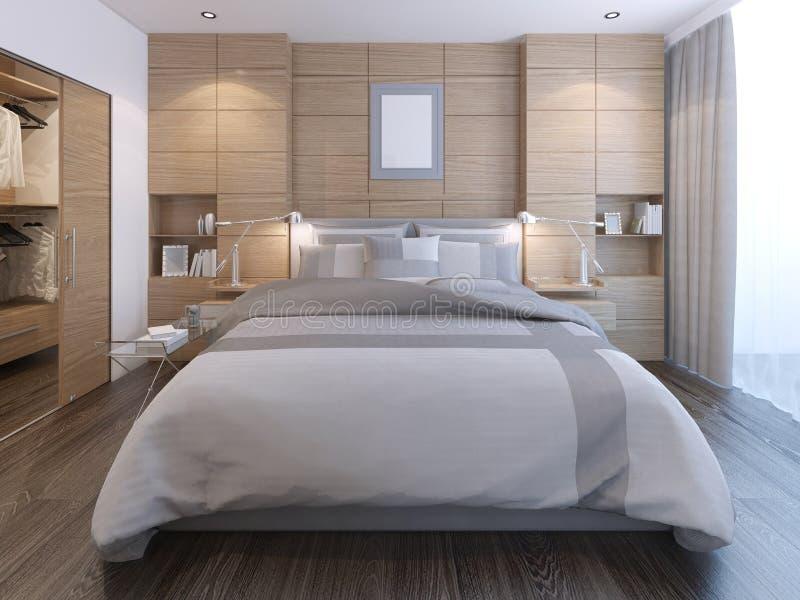 Elegantes Schlafzimmer Mit Wanddekoration Stock Abbildung ...