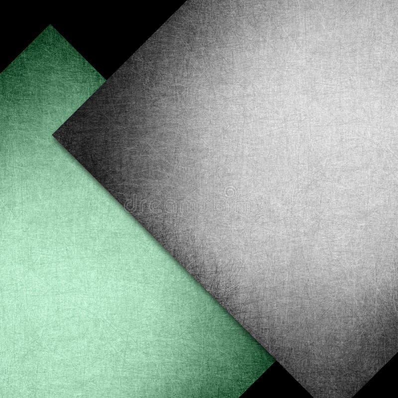 Elegantes schwarzes und grünes Hintergrundbeschaffenheitspapier mit abstrakten Winkeln und diagonalen Linien und Diamantformen im lizenzfreie abbildung